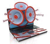 istock Megaphones coming out of laptop screen concept, online breaking 487355404