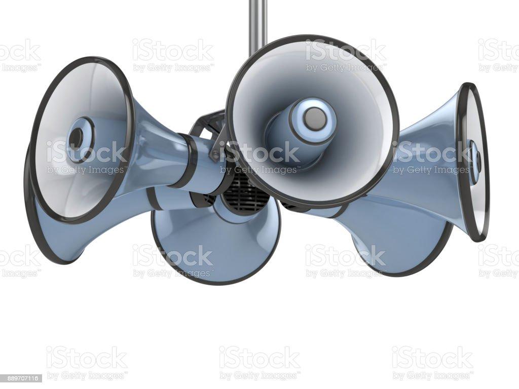 Megaphones isolated on white background 3d illustration stock photo