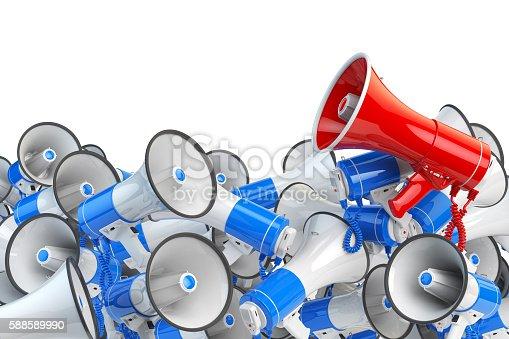 591831768 istock photo Megaphones. Promotion and advertising, digital marketing or soci 588589990