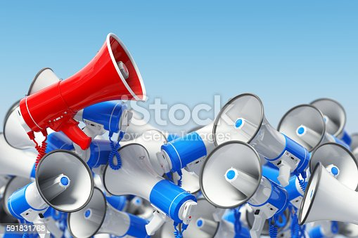 istock Megaphones. Promotion and advertising, digital marketing or soci 591831768