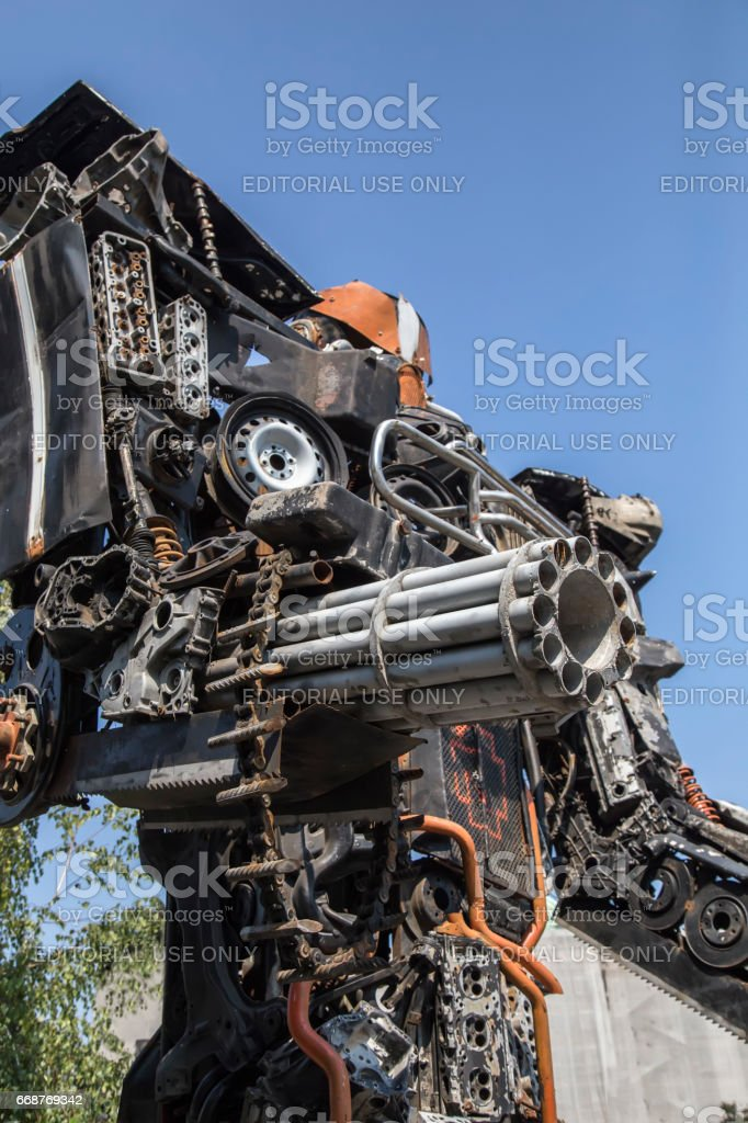 Megatron from transformers movie made from old car parts 2 stock photo