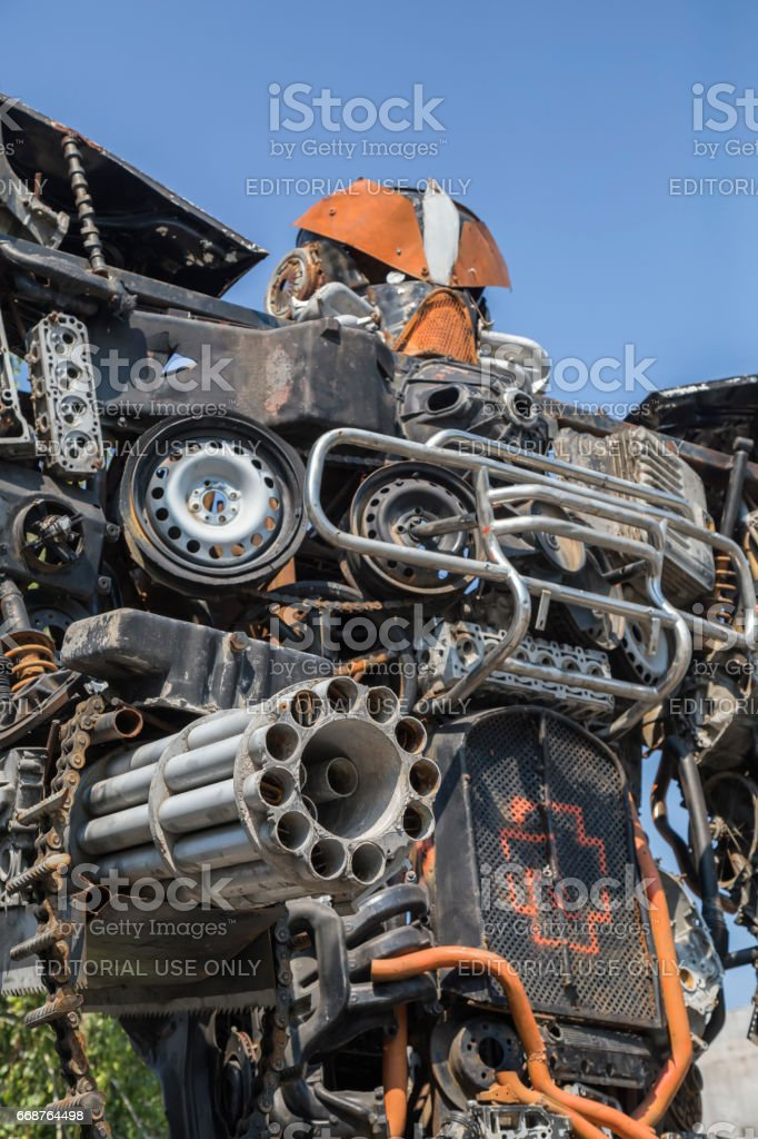 Megatron from transformers movie made from old car parts stock photo