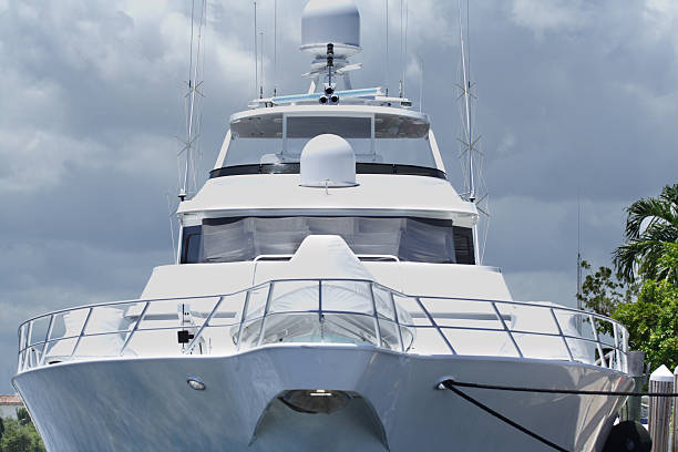 mega-yacht - yacht front view stock photos and pictures