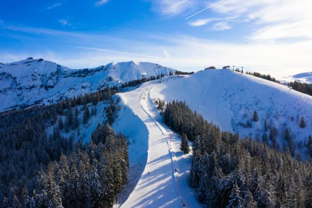 Megeve (Megève) ski station in Haute Savoie in French Alps of France stock photo