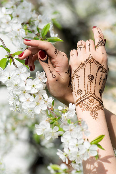 Mehndi in blossom stock photo