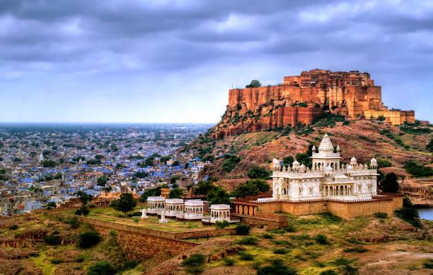 Mehrangharh Fort and Jaswant Thada mausoleum in Jodhpur, Rajasthan, India stock photo