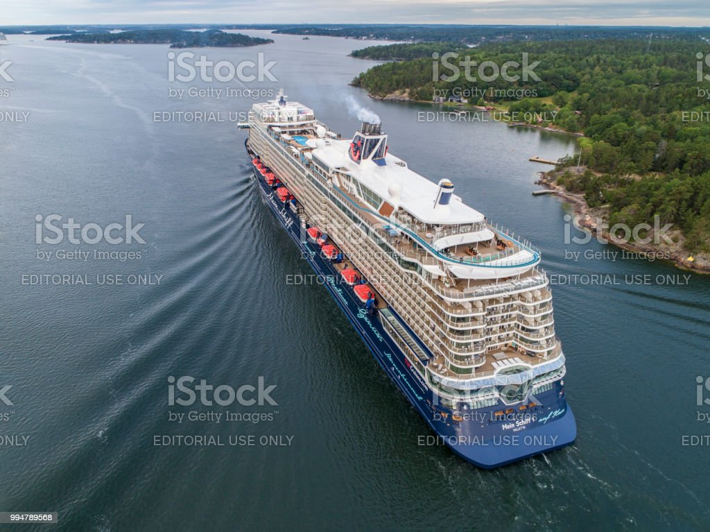 Mein Schiff 1 Cruiser Ship passing by in the Stockholm Swedish archipelago stock photo