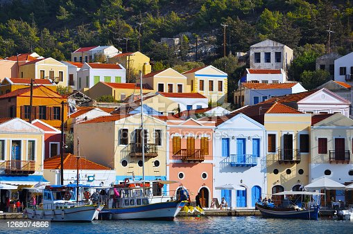 istock Meis (Kastellorizo) Island harbour landscape, Greece 1268074866