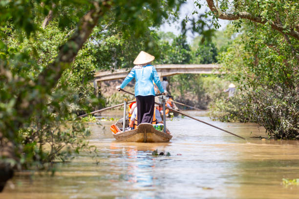 mekong delta river lifestyle - mekong river stock pictures, royalty-free photos & images