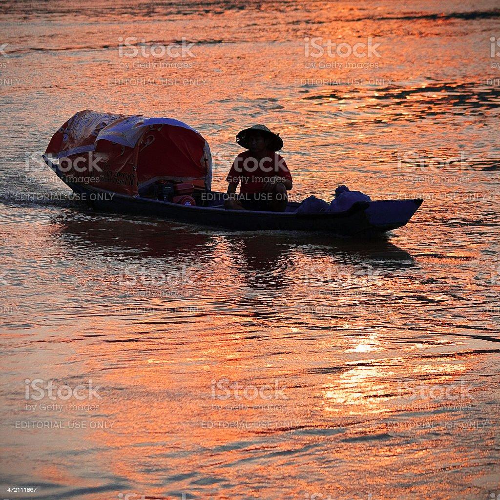 Mekong Fisherman At Sunset royalty-free stock photo