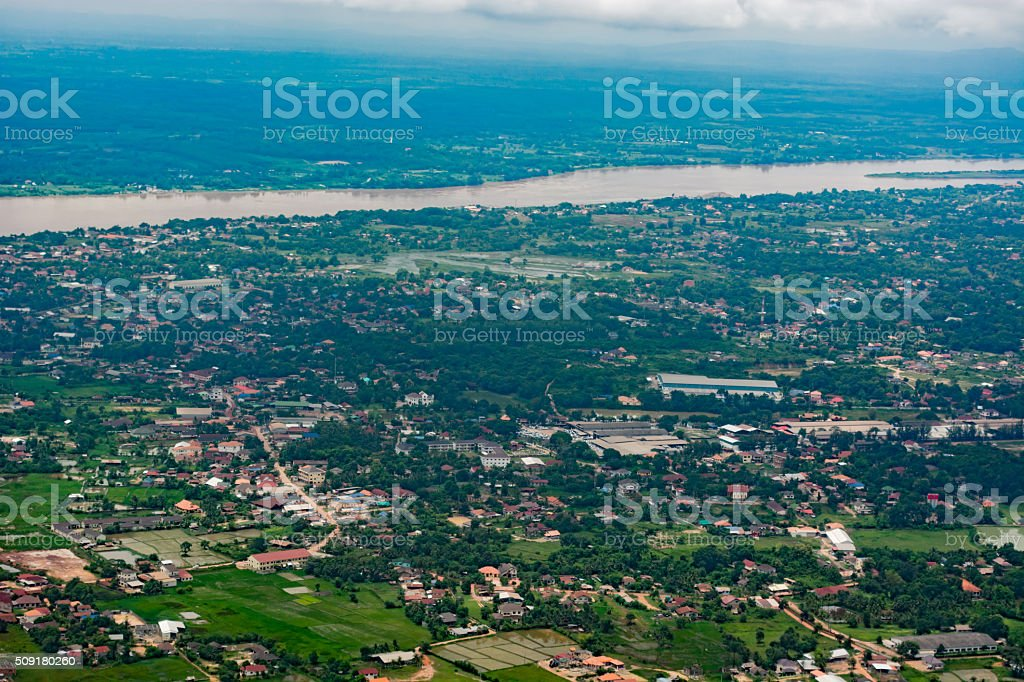 Mekong River and the Vientiane cityscape stock photo