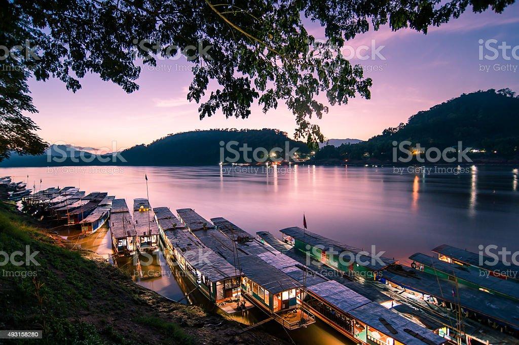Mekong river at Luangphabang stock photo