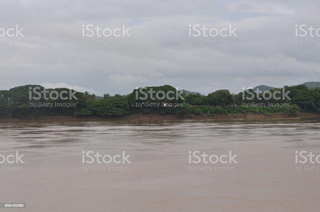 Mekong river between Thailand and Laos stock photo