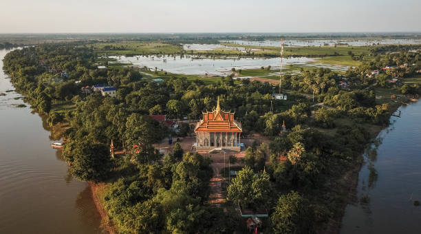 Mekong River Delta Temple stock photo