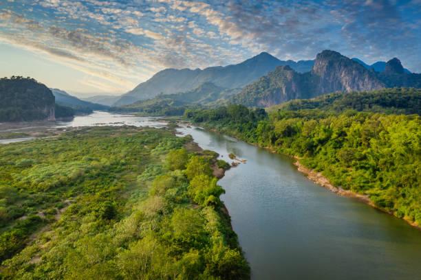 Mekong River in Laos Luang Prabang Pak Ou Drone View stock photo