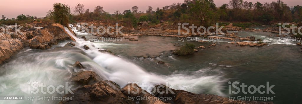Mekong River in Laos, Tad Khone Pa Soi Waterfall stock photo