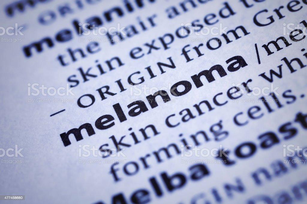 Melanoma: Dictionary Close-up stock photo