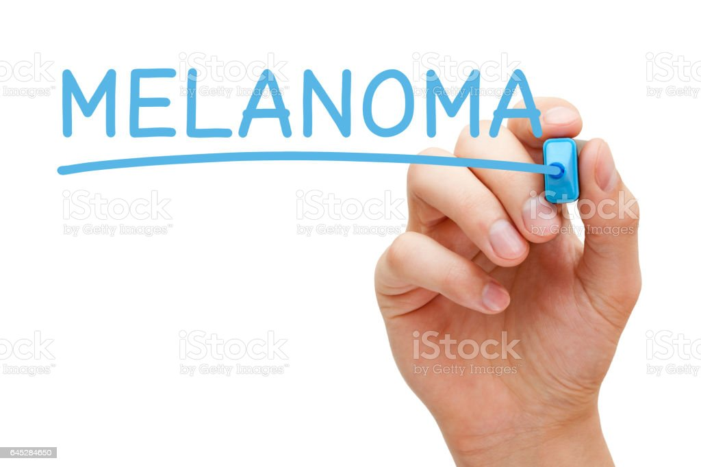 Melanoma Handwritten With Blue Marker stock photo