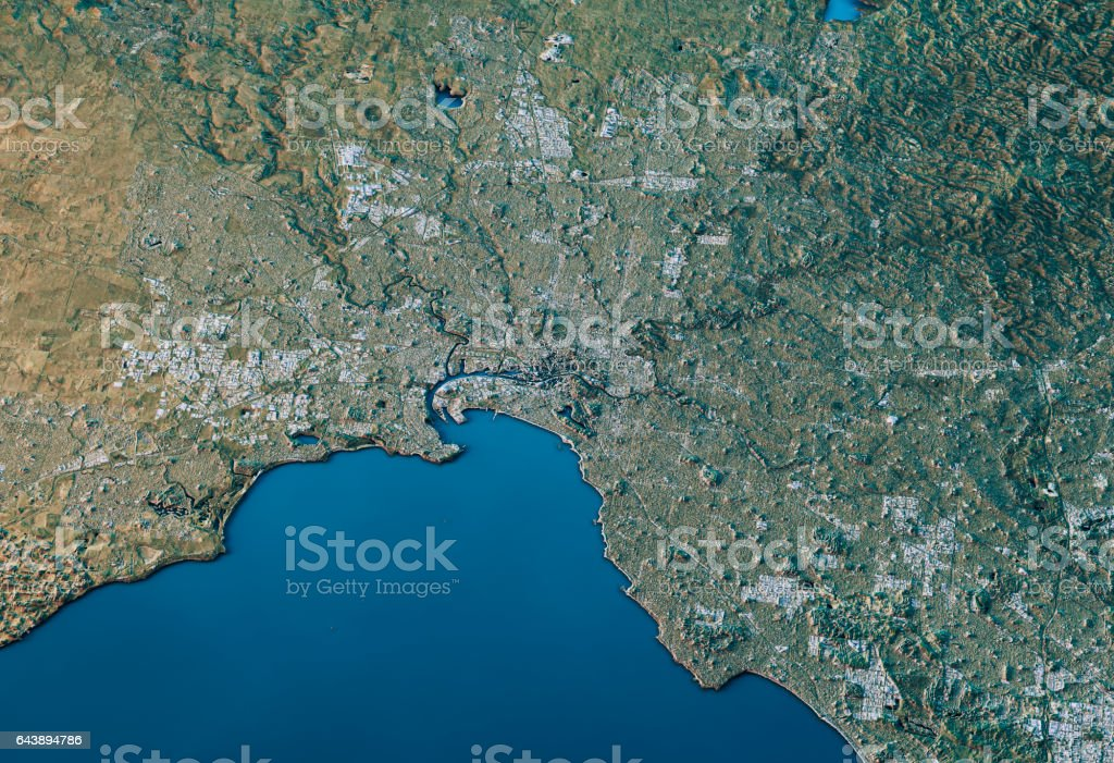 Melbourne 3D Landscape View South-North Natural Color stock photo