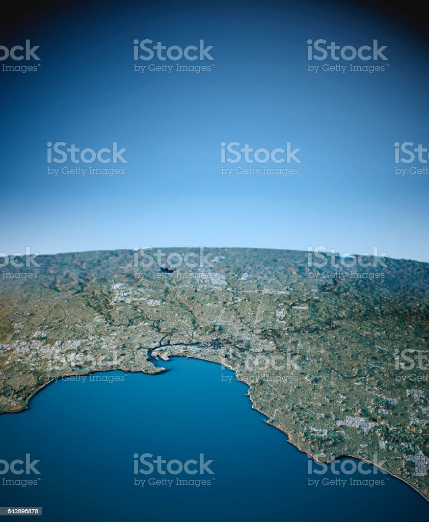 Melbourne 3D View Vertical South-North Natural Color stock photo
