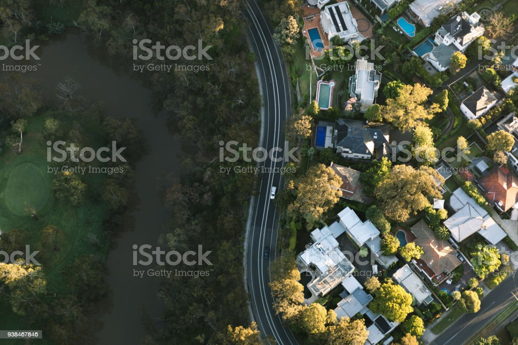 Melbourne aerial photography stock photo