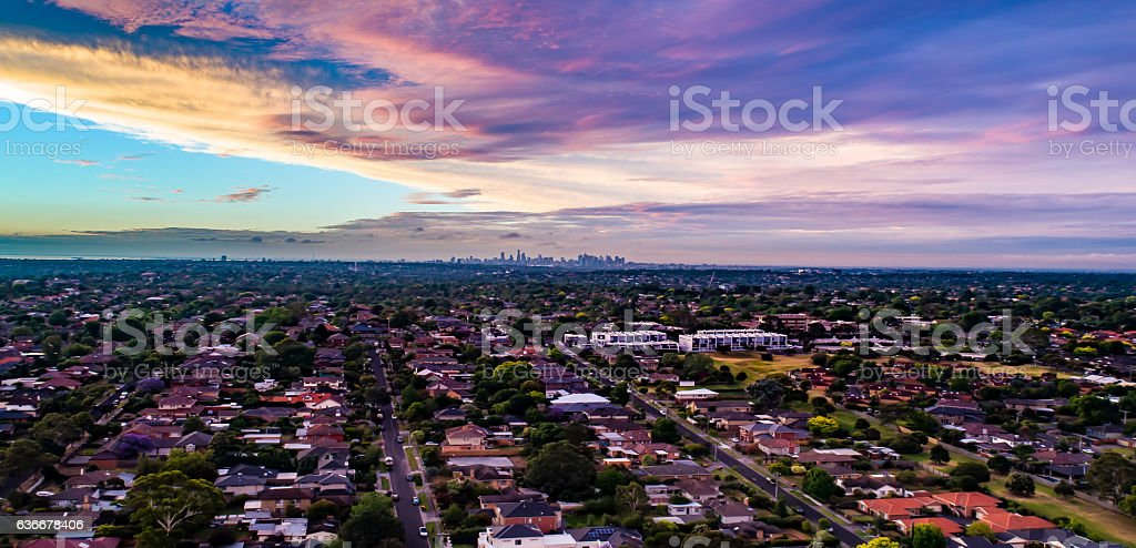 Melbourne after sundown. stock photo