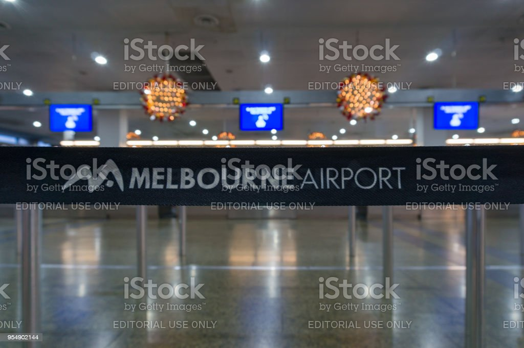 Melbourne airport check-in zone stock photo