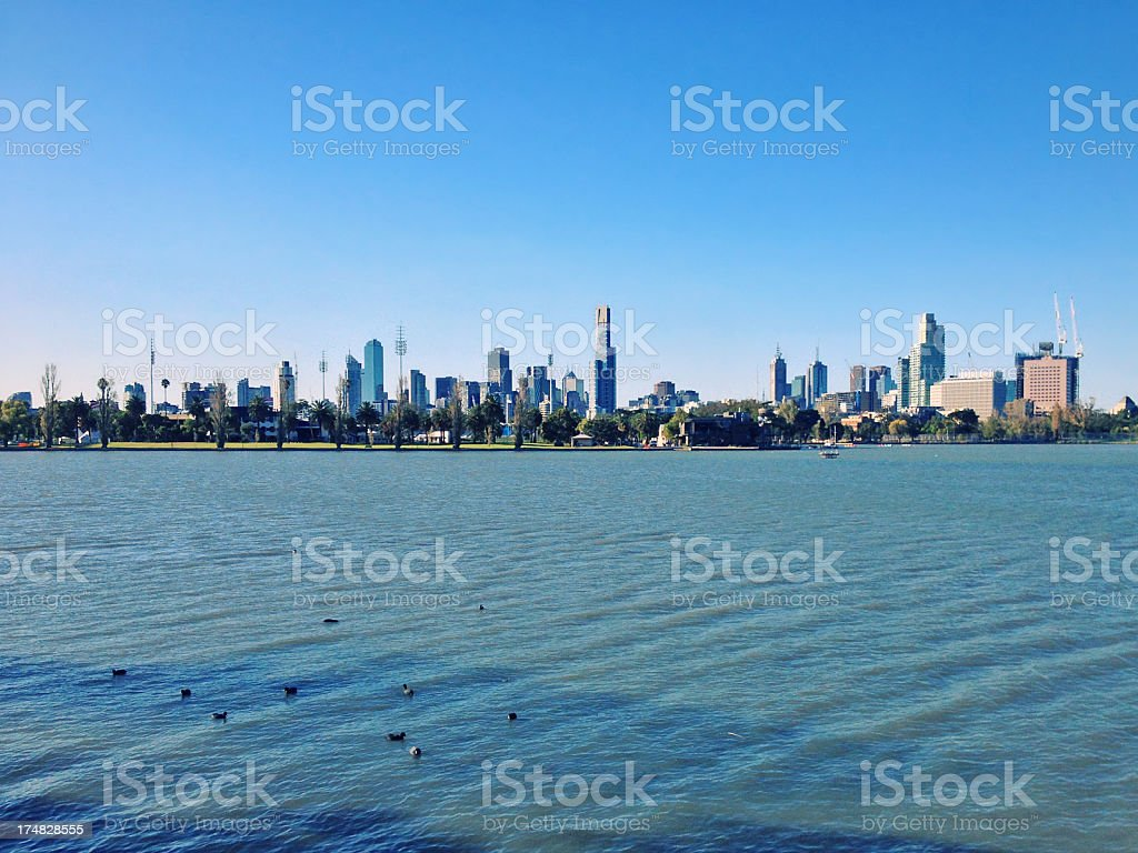 Melbourne and Albert Park Lake royalty-free stock photo