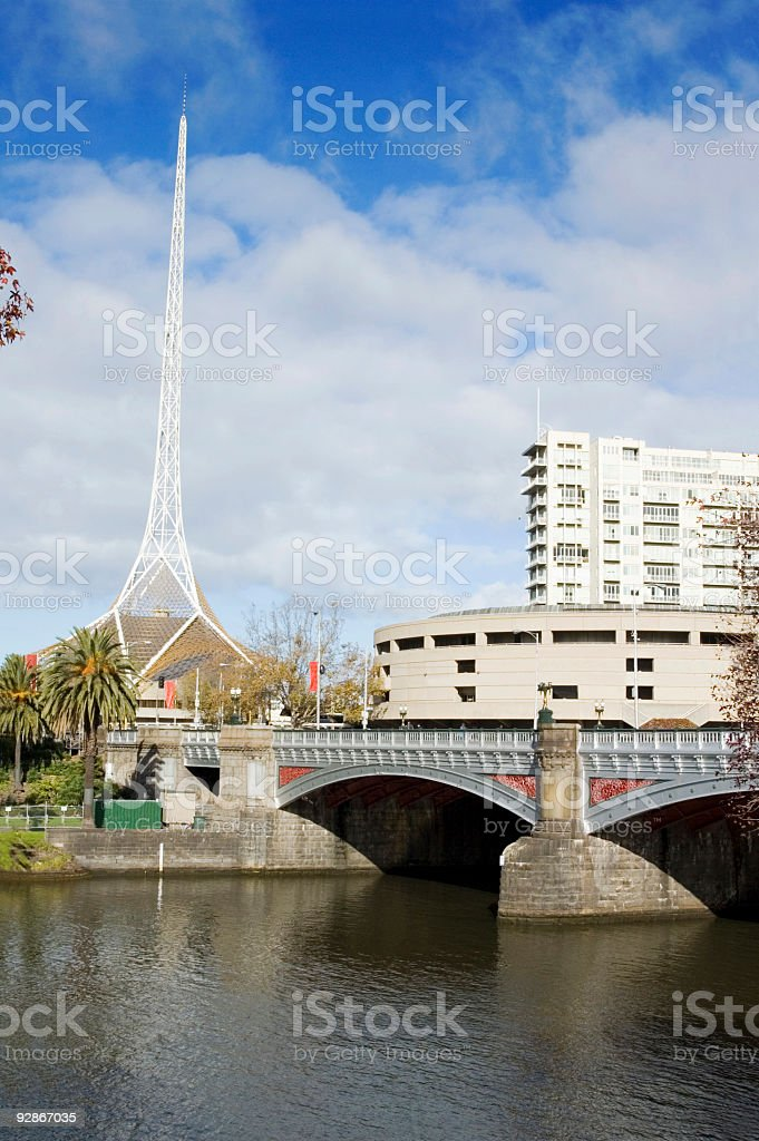 Melbourne Arts Centre & Yarra River royalty-free stock photo