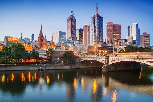 Melbourne's skyline at dusk.