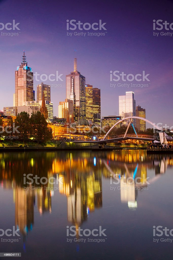 Melbourne at dusk stock photo