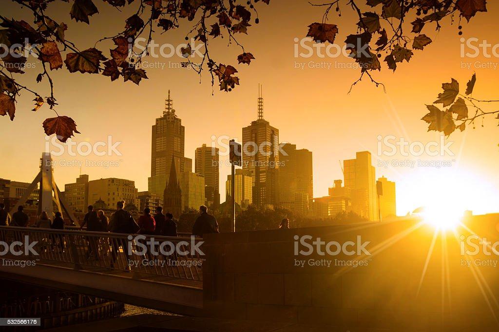 Melbourne at sunrise stock photo