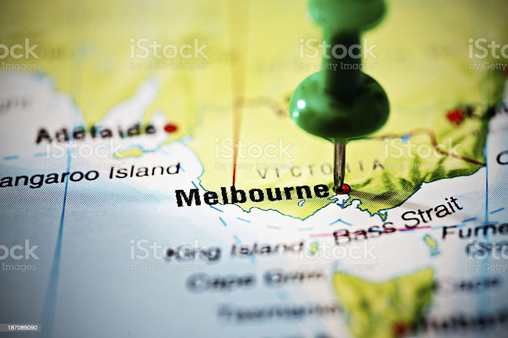 Melbourne, Australia marked on map by green pushpin stock photo