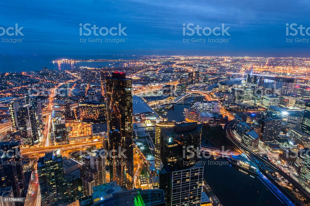 Melbourne bird eye view stock photo