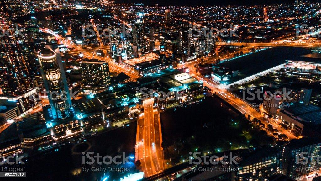 Melbourne CBD de nuit vue d'une tour - Royalty-free Architecture Stock Photo