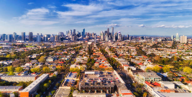 D Melbourne CBD From port stock photo