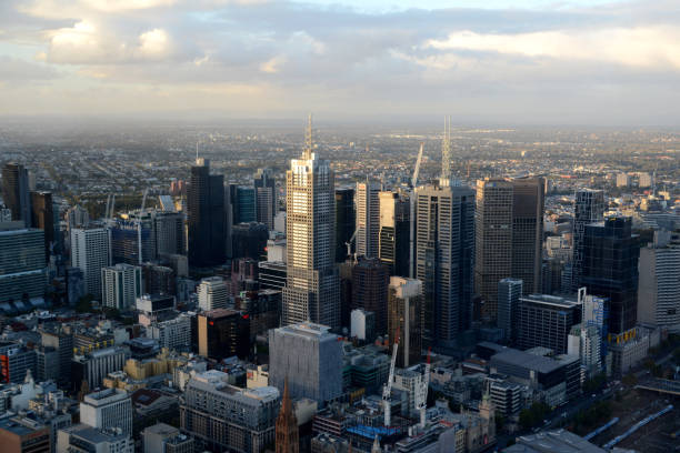 Melbourne CBD panorama, Victoria, Australia stock photo