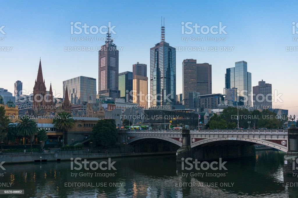 Melbourne CBD with Princes bridge and Yarra river stock photo