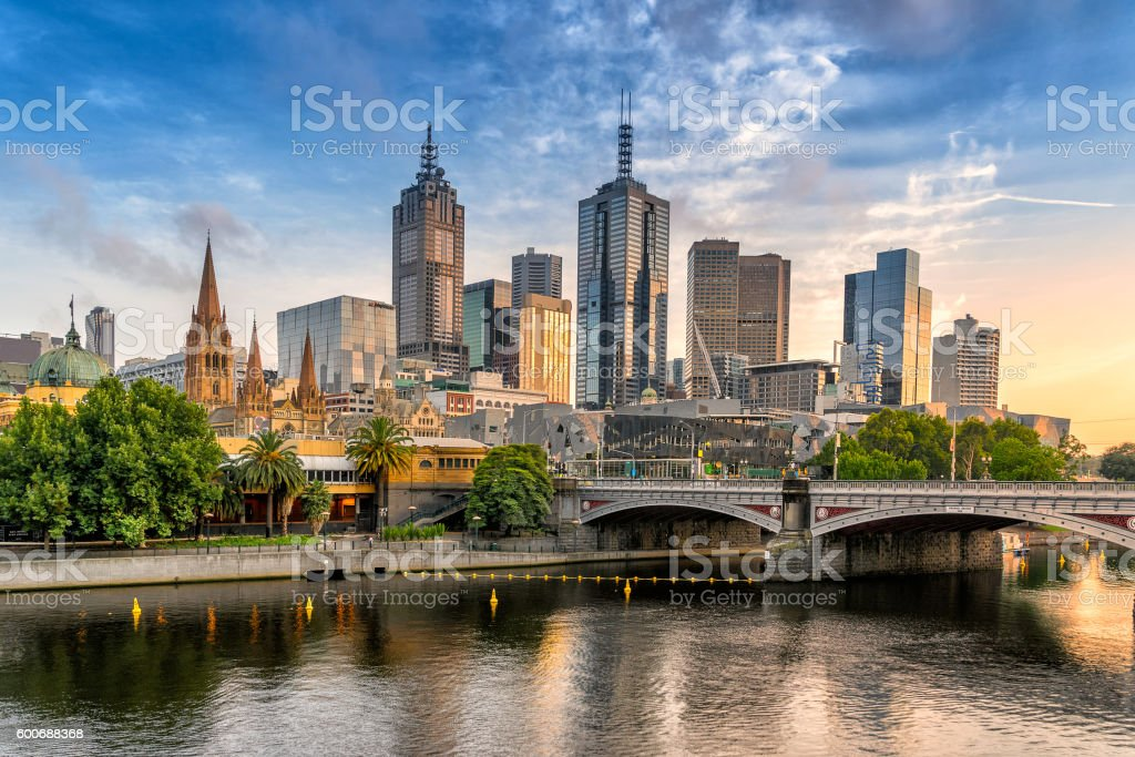 Melbourne central Business district Looking across the Yarra river from Southbank to the city of Melbourne Financial District Stock Photo
