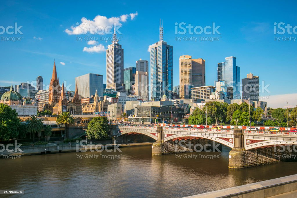 Melbourne central business district stock photo