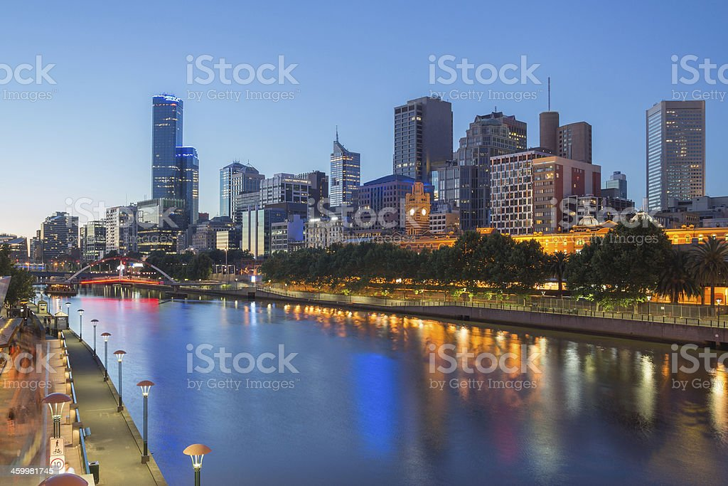 Melbourne City and the Yarra river at night stock photo