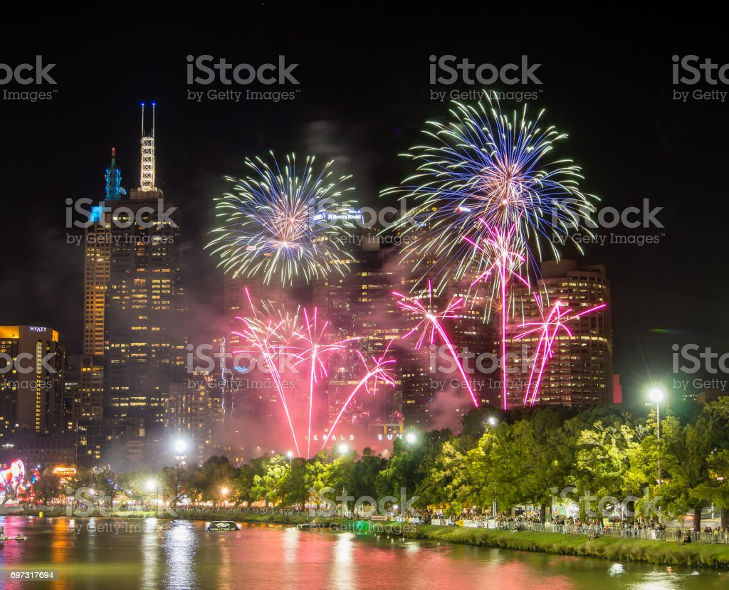 Melbourne City Fireworks stock photo