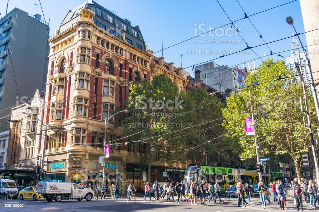 Melbourne city life. People crossing Collins street stock photo