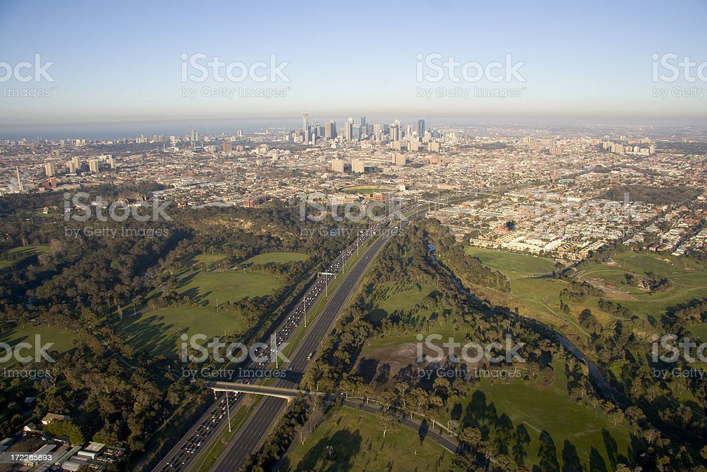 Melbourne city skyline and eastern freeway stock photo