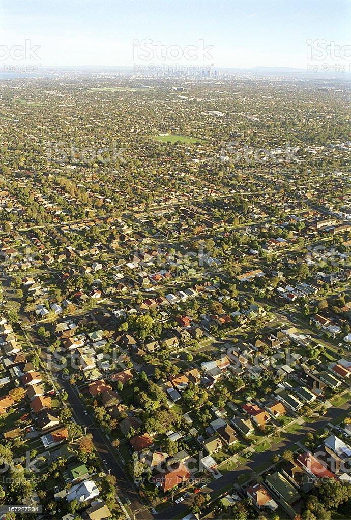 Melbourne city skyline and suburbs stock photo