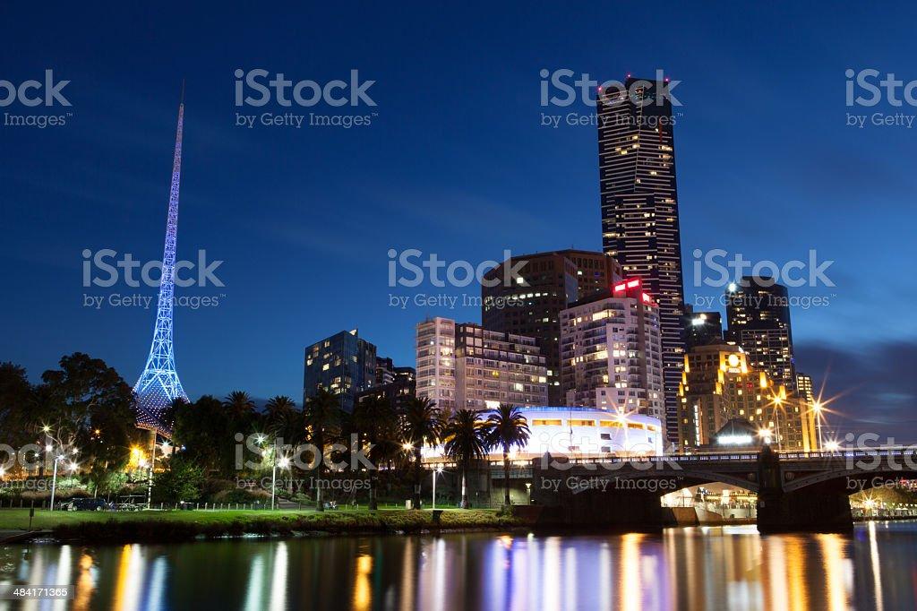 Melbourne City Skyline & Arts Precinct stock photo