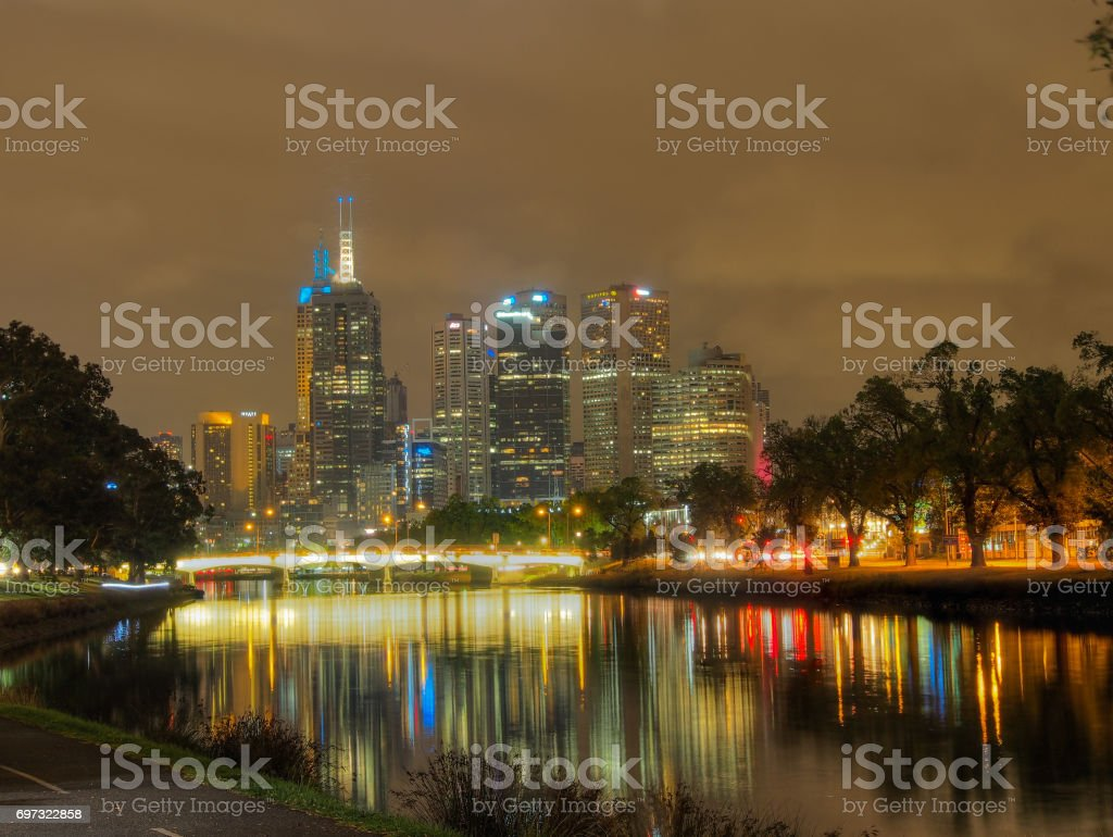 Melbourne City Skyline at night stock photo