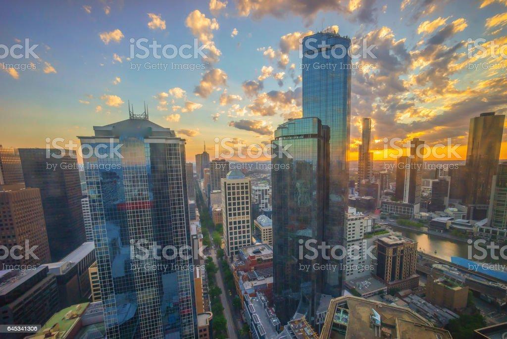 Melbourne city skyline stock photo