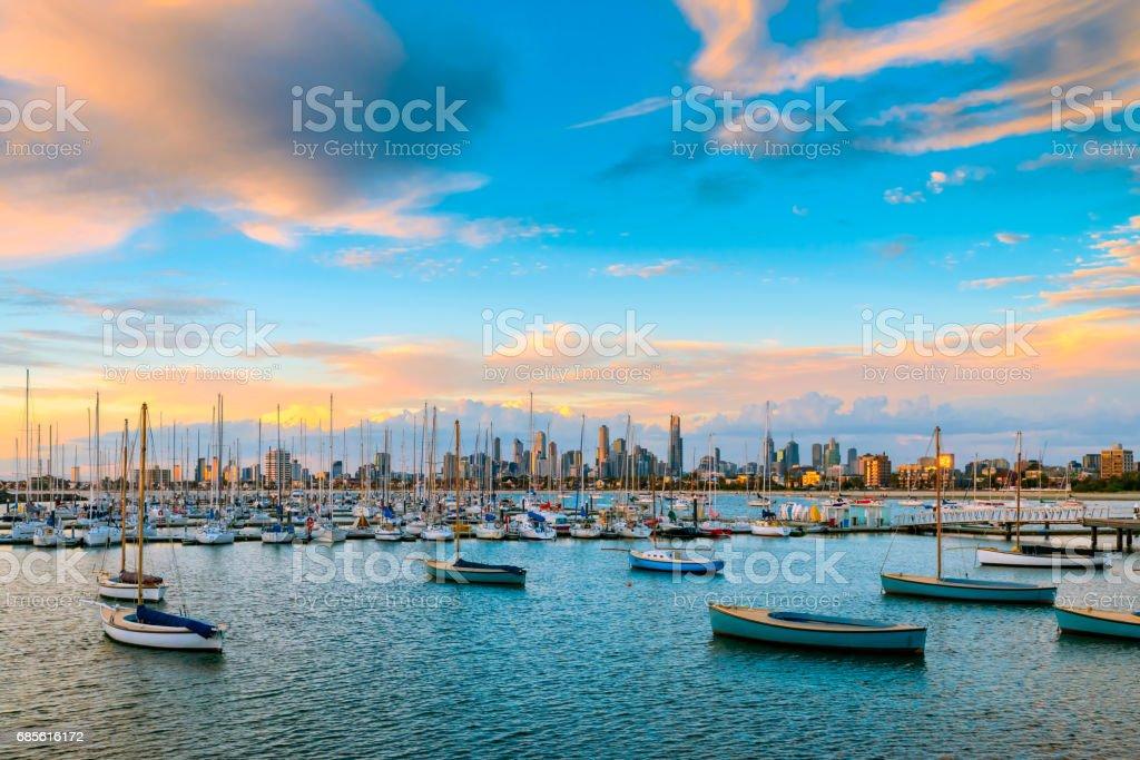 Skyline von Melbourne, Victoria Lizenzfreies stock-foto