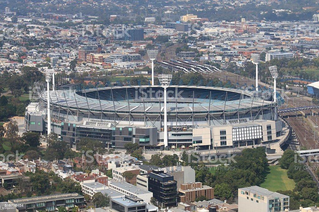 Melbourne cityscape and Melbourne Cricket Ground Australia stock photo